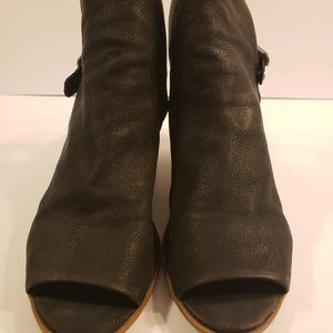 Lucky Brand Bray Black Leather Open Toe Booty